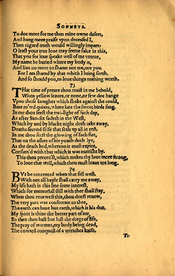 sonnet 73 Actually understand shakespeare's sonnets sonnet 73 read every line of shakespeare's original text alongside a modern english translation.
