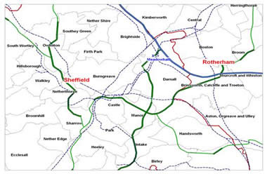 Figure 1: Wards surrounding Darnall in Sheffield and Rotherham