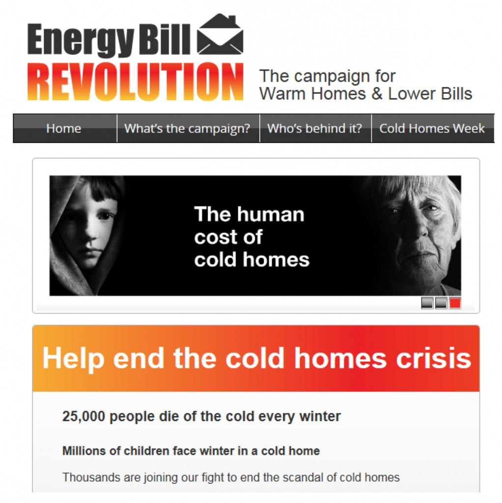 The homepage of the Energy Bill Revolution website