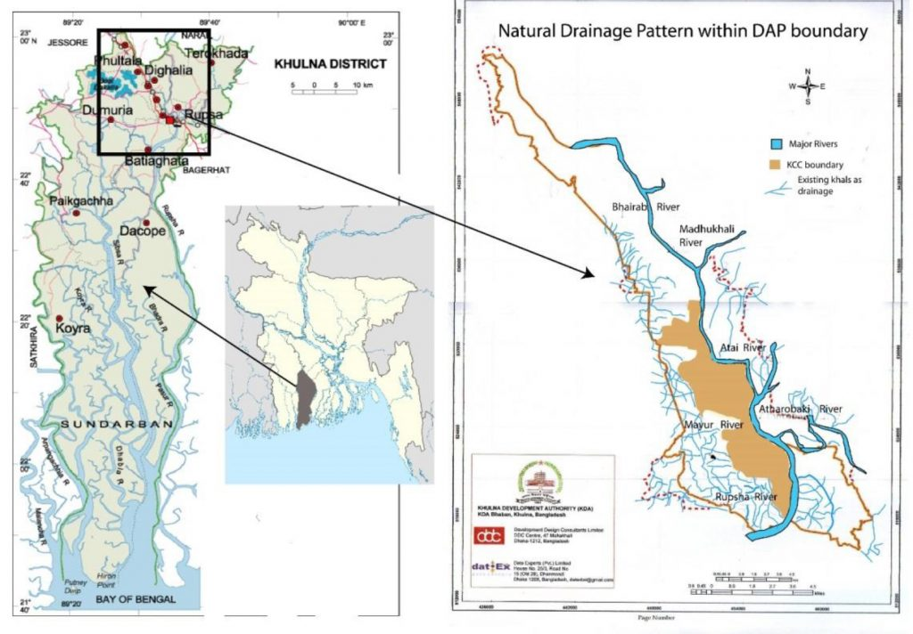 Towards Integrated Water Infrastructure Systems For Climate - Map of khulna city