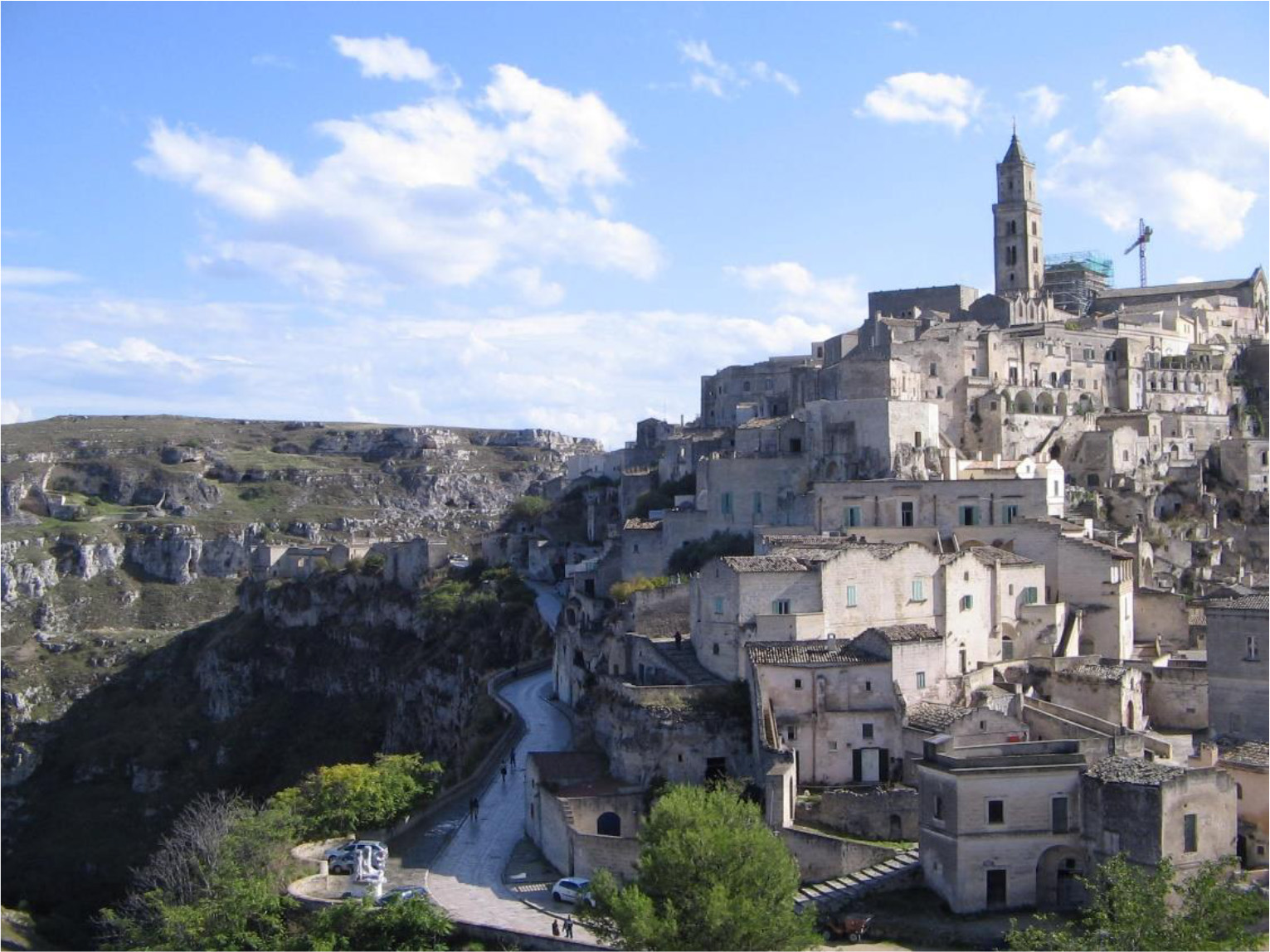 The historical centre of the city of Matera overlooking the Gravina canyon