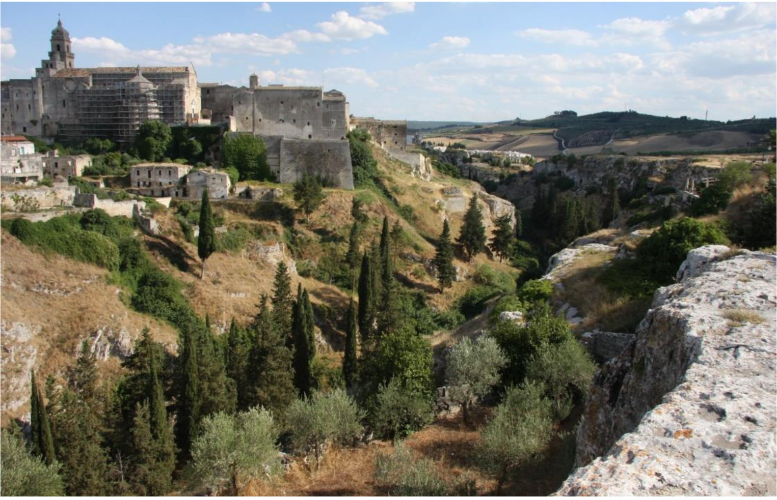Shows the hilly landscape surrounding the town of Gravina (Apulia region)